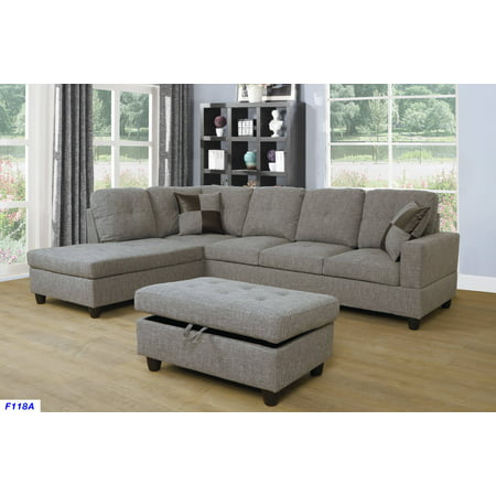 Ashey Furniture L Shape Sectional Sofa Set With Storage Ottoman Left Hand Facing Chaise Brown Gray Color Linen Upholstery Material