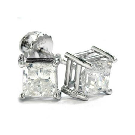 G/SI 2 ct TDW Princess Cut Diamond Screw Back Studs 14k White Gold