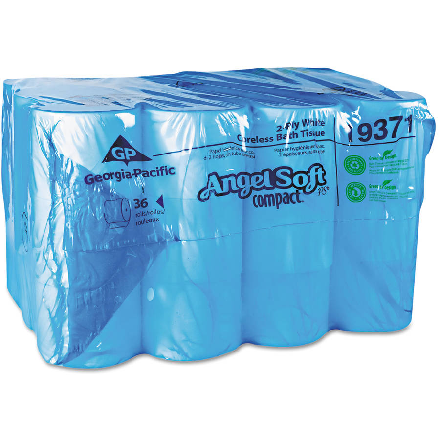 Angel Soft Compact 2-Ply Coreless Bathroom Tissue, White, 750 sheets, 36 rolls