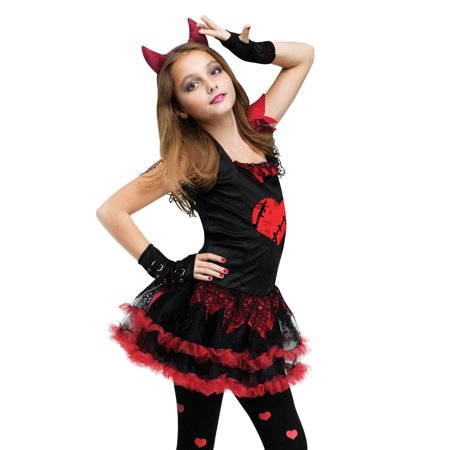 Girls Devil (Kids Girls Child Demon Black Devil Red Evil Dress Up Diva Halloween)