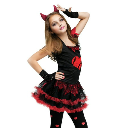 Kids Girls Child Demon Black Devil Red Evil Dress Up Diva Halloween Costume