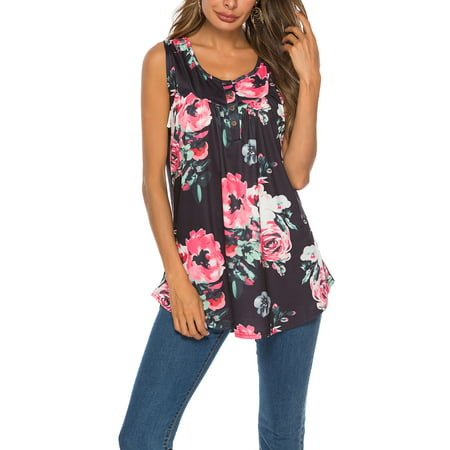 Summer Floral Casual Tunic Blouse Tops For Women Ladies Sleeveless Loose Tank Vest Tops T-Shirts Blouse Tops Holiday Party Sport Leisure Blouse Tops Womens Designer Sleeveless Blouse