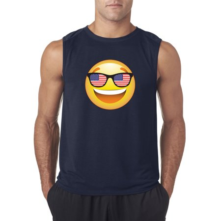 Trendy USA 474 - Men's Sleeveless Emoji Smiley Face USA American Flag Sunglasses 4th July XL (Smiley Face With Sunglasses Meaning)