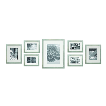 Photo Gallery Templates - Gallery Perfect 7 Piece Greywash Photo Frame Wall Gallery Kit with Decorative Art Prints & Hanging Template