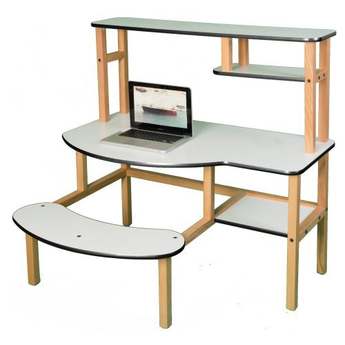 Wild Zoo Grade School Buddy Computer Desk with Optional Hutch and Printer Stand - White