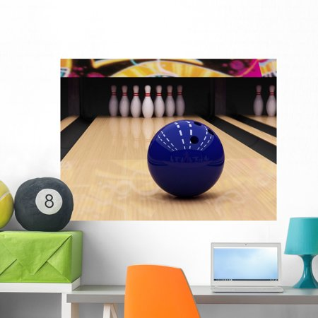 Bowling Ball and Pins Wall Mural by Wallmonkeys Peel and Stick Graphic