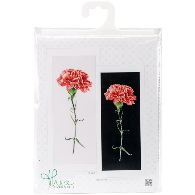 Carnation Red On Aida Counted Cross Stitch Kit - 6.5 x 16.5 in., 18 Count