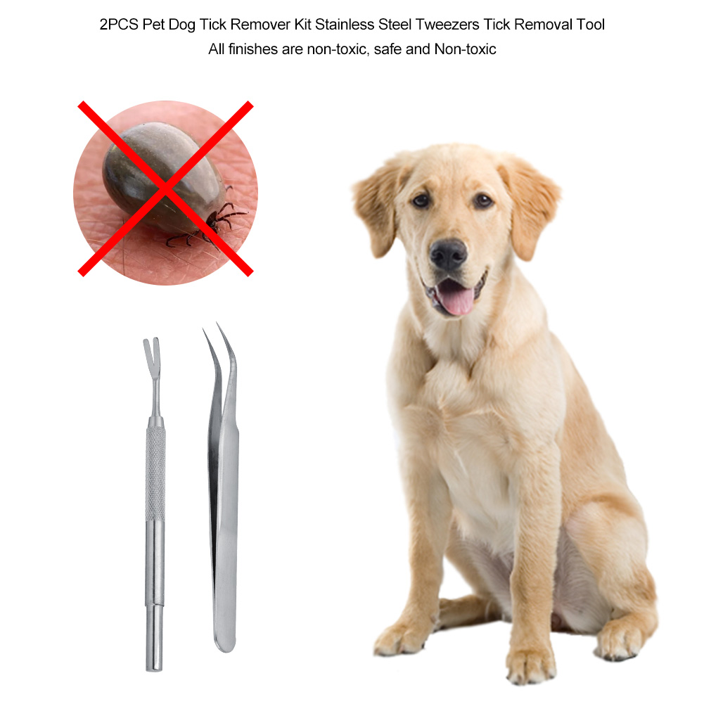 EECOO Tick Removal Tool for Pet Dog Tick Remover,2PCS Pet Dog Tick Remover Kit Stainless Steel Tweezers Tick Removal Tool