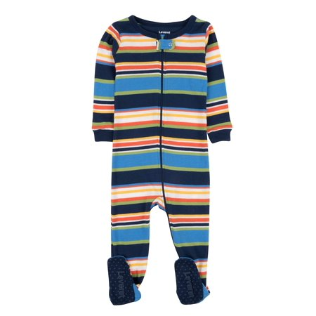 Leveret Striped Footed Pajama Sleeper 100% Cotton (6-12 Months, Colorful) ()