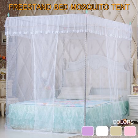 Elegant Princess Style Four Corner Post Mosquito Net Luxury Netting Curtain Panel Bedding Canopy Queen King Sizes 4