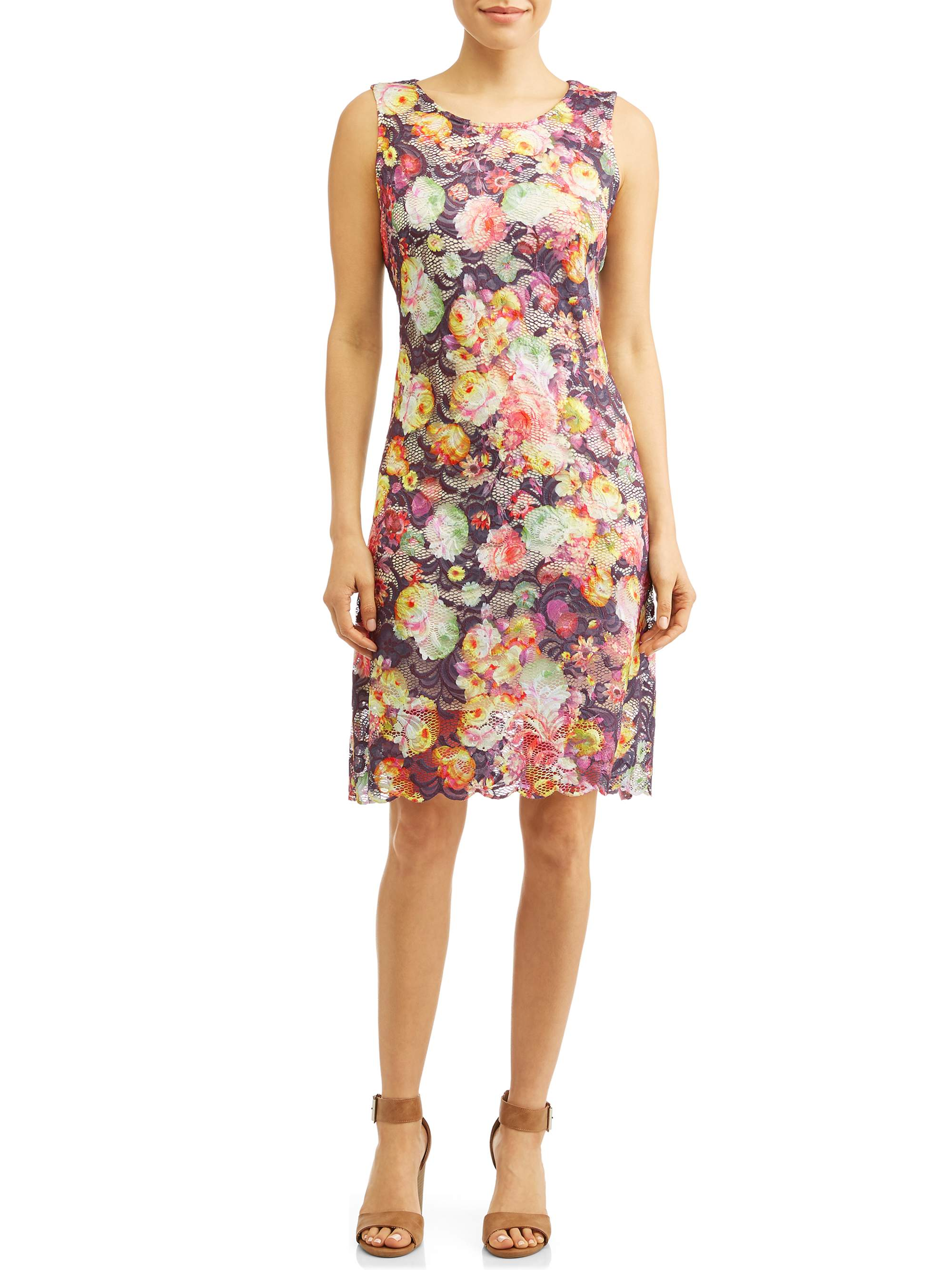 Women's Printed Floral Lace Dress