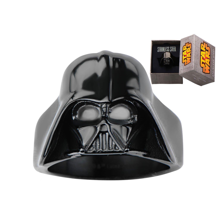 Disney Stainless Steel Star Wars 3D Darth Vader Black IP Ring