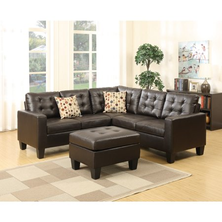 Surprising Bonded Leather 4 Pieces Sectional With Cocktail Ottoman And Pillows In Espresso Brown Pabps2019 Chair Design Images Pabps2019Com
