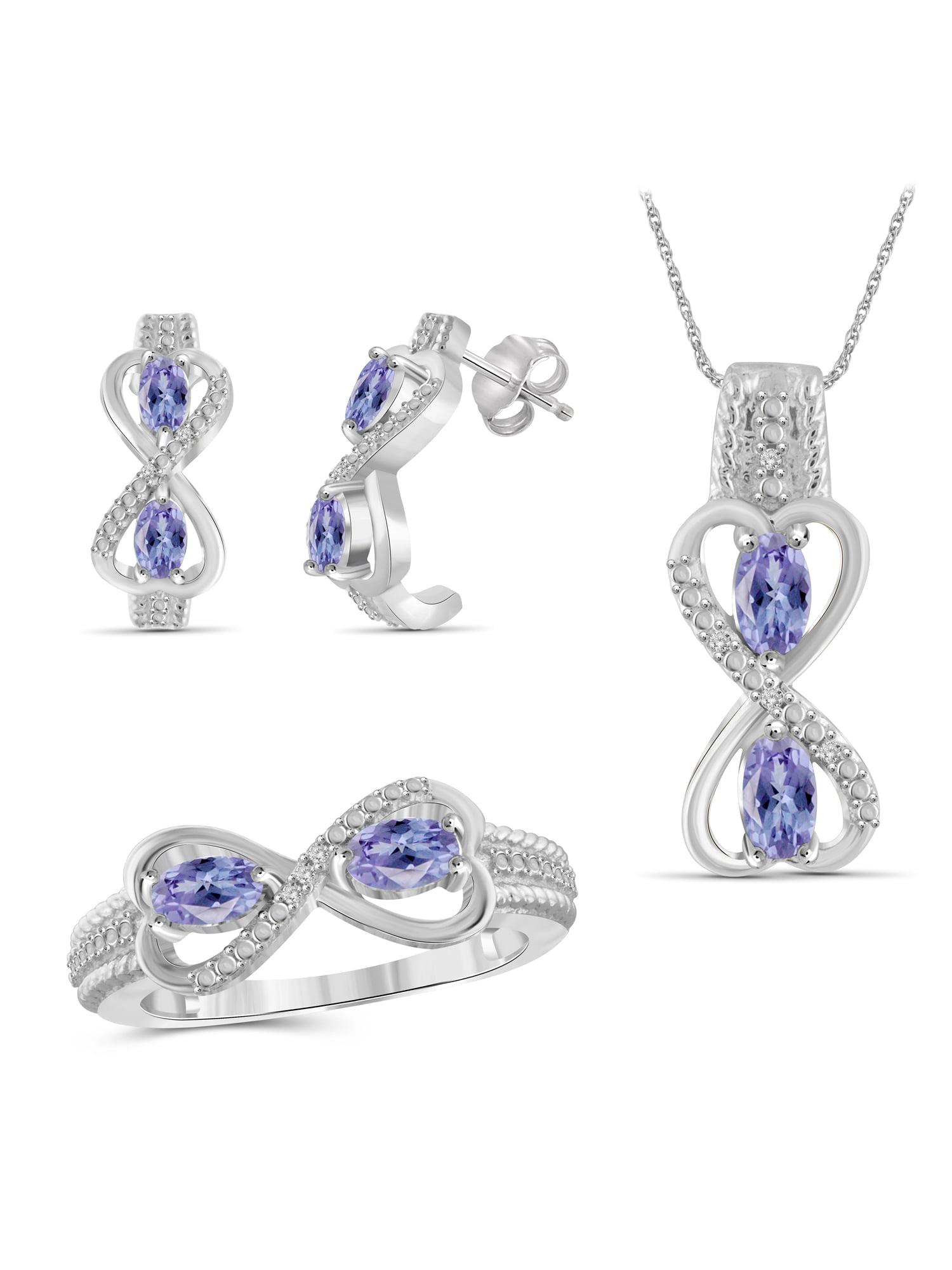 JewelersClub 2.00 Carat T.G.W. Tanzanite And White Diamond Accent Sterling Silver 3-Piece Jewelry set by JewelersClub