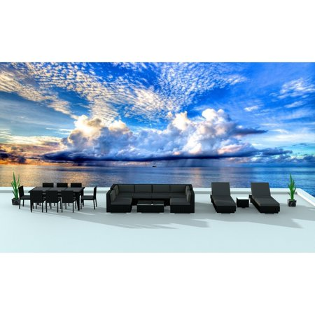 Urban Furnishing Black Series 19 Piece Outdoor Dining And Patio Furniture Set