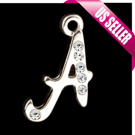 Rhinestone Letter Charms (Alphabet Charms, Silver Plated Clear Czech Rhinestone Letter A 22.5x12.6mm pack Of)