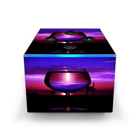 Skins Decals for Amazon Fire TV CUBE + REMOTE / Tropical Sunset Wine (Remove Glasses)