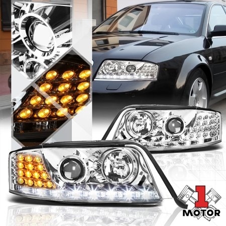 Chrome Projector Headlight White Drl Amber Led Turn Signal For 98 01