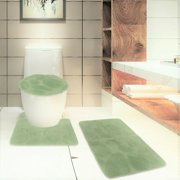 S 3PC #6 SAGE GREEN BANDED BATHROOM SET BATH MAT COUNTOUR RUG LID COVER PLAIN SOLID COLORS