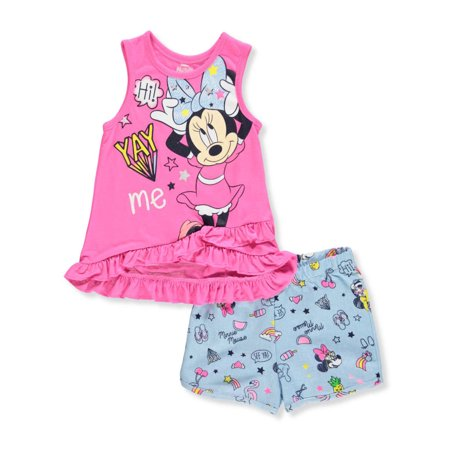 Disney Minnie Mouse Girls' 2-Piece Shorts Set Outfit (Kids Disney Outfits)