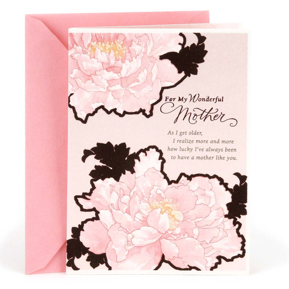 Hallmark, Pink Flowers, Birthday Greeting Card, to Mother
