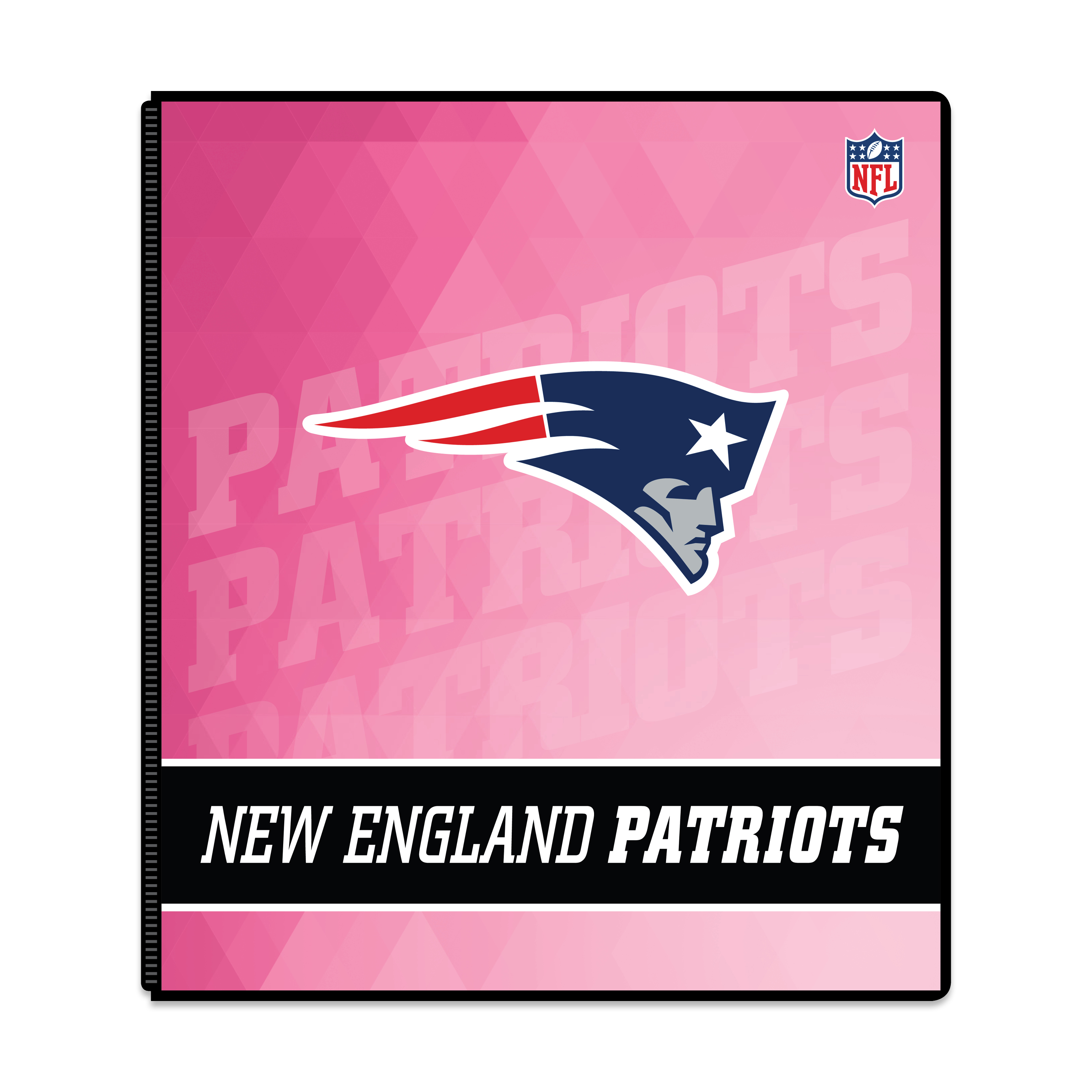 "NFL New England Patriots 3 Ring Binder, 175 Sheet Capacity, 1"" Metal Rings"