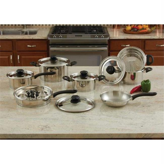 KT18SC Maxam 18pc Stainless Steel Cookware Set With Steam Control Knobs