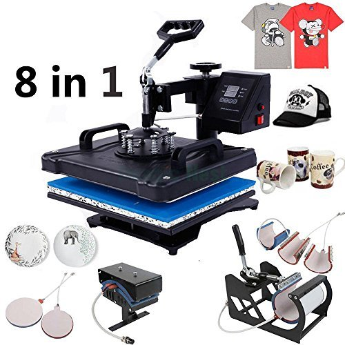 "Zimtown 8 in 1 Heat Press Machine, 12"" x 15"" Digital LED 1200W Transfer Sublimation Machine, for Printing T-Shirt / Hat / Mug / Plate / Cap, Dual LCD Timer, 360 Degree Swivel"