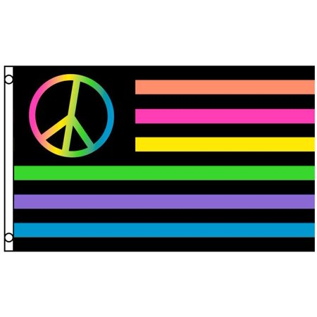 Rainbow Neon Peace American USA Polyester 3x5 Foot Flag Outdoor Garden Banner ()