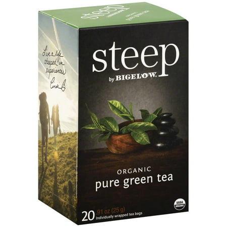 Steep par Bigelow Sachets de thé vert pur bio, 0,91 oz, (Pack de 6)