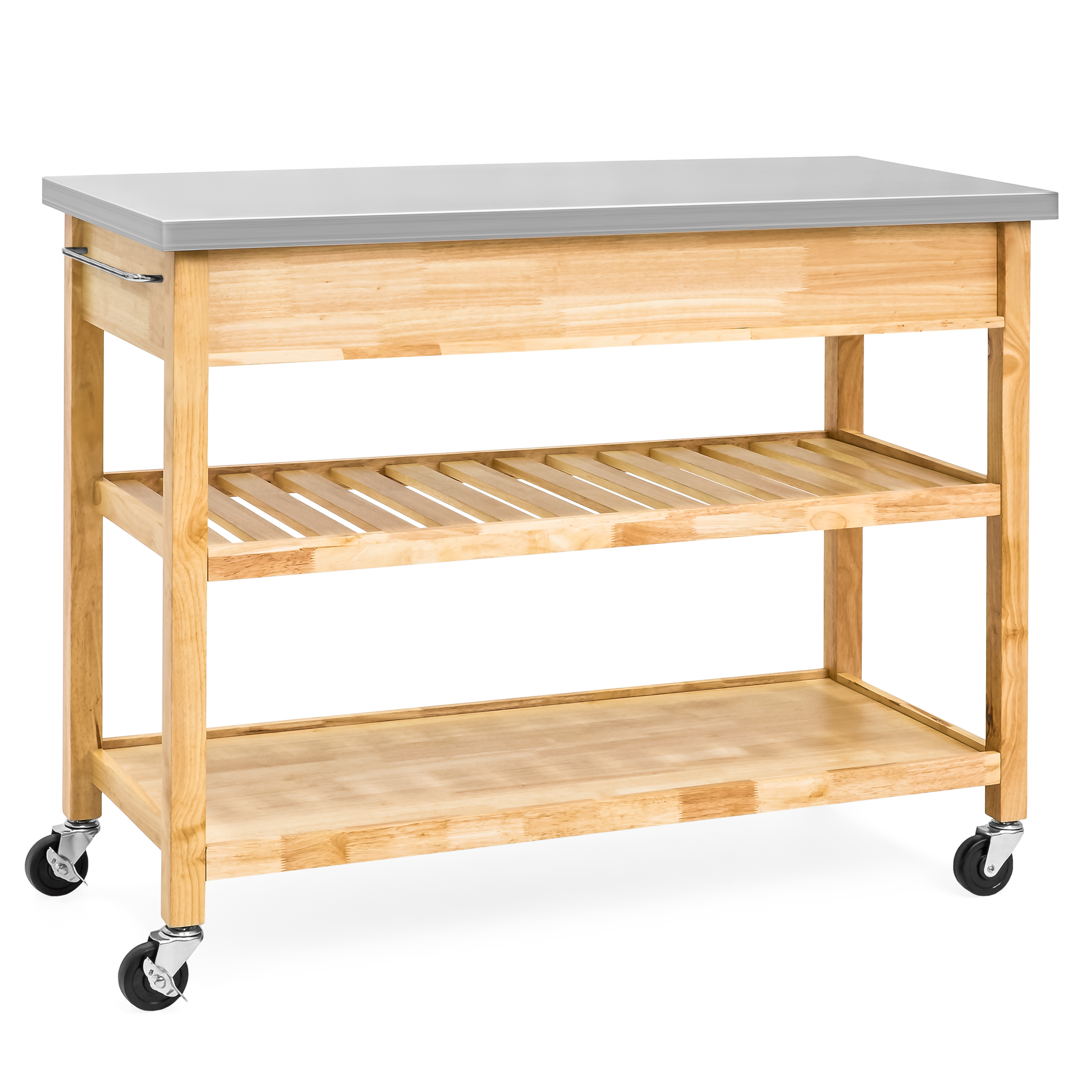 Best Choice Products 3-Tier Wood Rolling Kitchen Island Utility ...