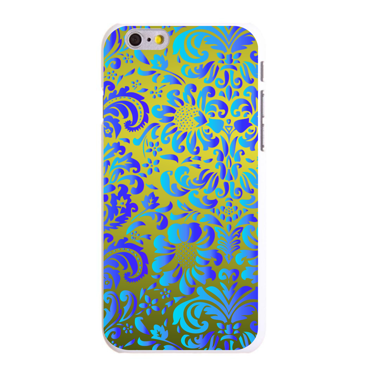 """CUSTOM White Hard Plastic Snap-On Case for Apple iPhone 6 PLUS / 6S PLUS (5.5"""" Screen) - Green Blue Teal Floral Pattern"""