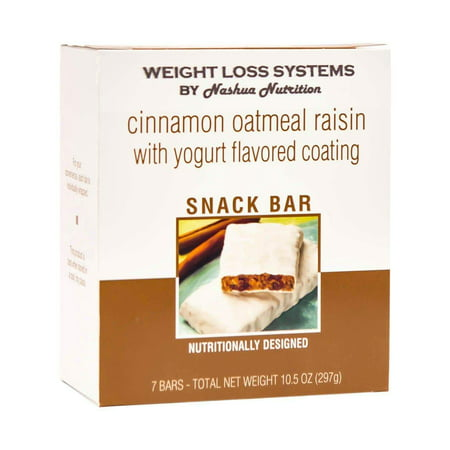 Weight Loss Systems - Protein Snack Bars - Cinnamon Oatmeal Raisin - with Yogurt Flavored Coating - High Protein - Low Calorie - Kosher -