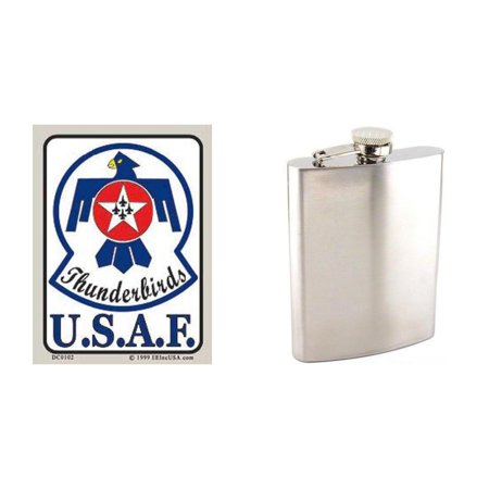 "U.S. Air Force Thunderbirds Sticker 2 3/4"" x 4"" & Stainless Steel Hip Flask 8oz"