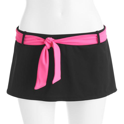Danskin Now Women's Solid Belted Skirt Swimsuit Bottom