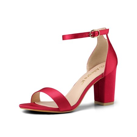 Women's Satin Ankle Strap Chunky Heels Sandals Red (Size - Blue Stripper Heels