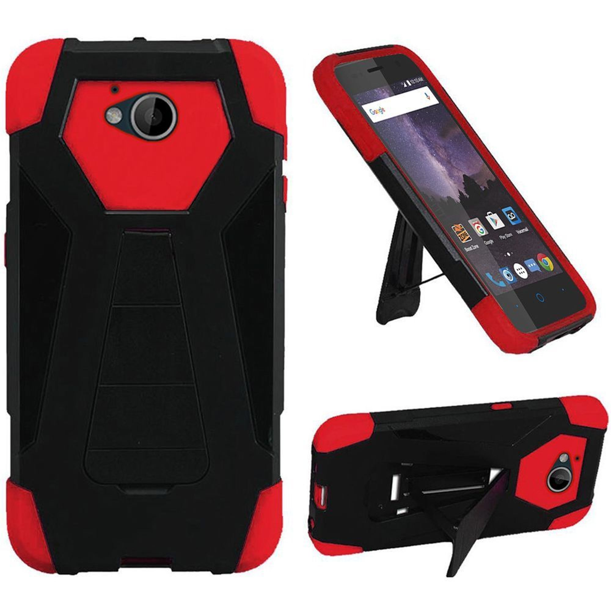 ZTE Majesty Pro LTE/Tempo Case, by HR Wireless Dual Layer Hybrid Stand Hard Plastic/Soft Silicone Case Cover For ZTE Majesty Pro LTE Z799VL/Tempo, Black/Red