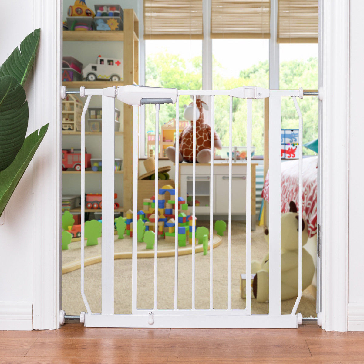 Gymax Baby Safety Gate Door Walk Through Toddler Child Pet Metal Easy Locking System