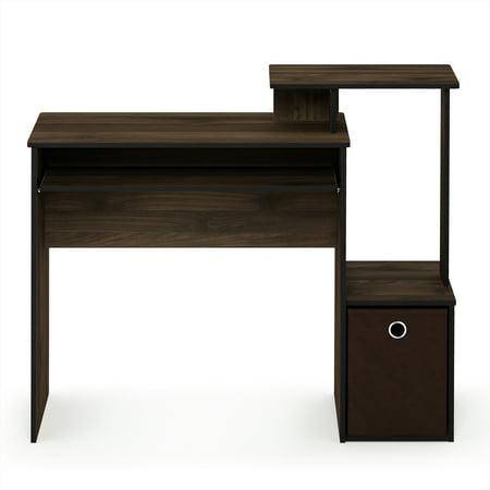 Furinno Econ Multipurpose Home Office Computer Writing Desk W Bin Columbia Walnut Dark