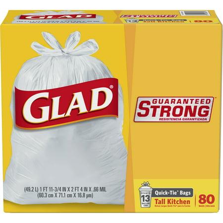 Glad Quick Tie Tall Kitchen Trash Bags 13 Gallon 80 Ct