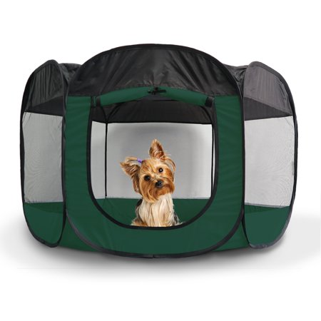 FurHaven Pet Playpen | Mesh Open-Air Dog Playpen, Hunter Green, Small ()