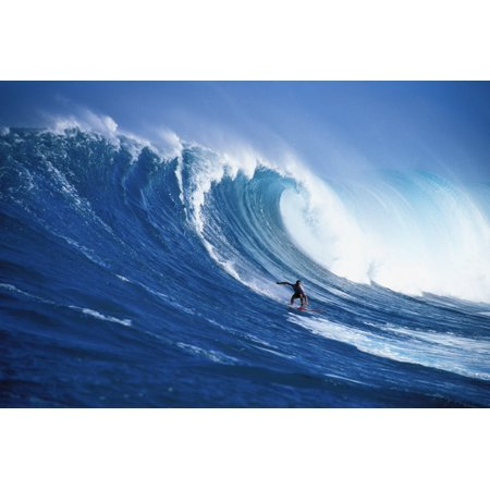 Hawaii Maui Peahi Buzzy Kerbox Surfing Big Wave Curling And Crashing Behind Posterprint