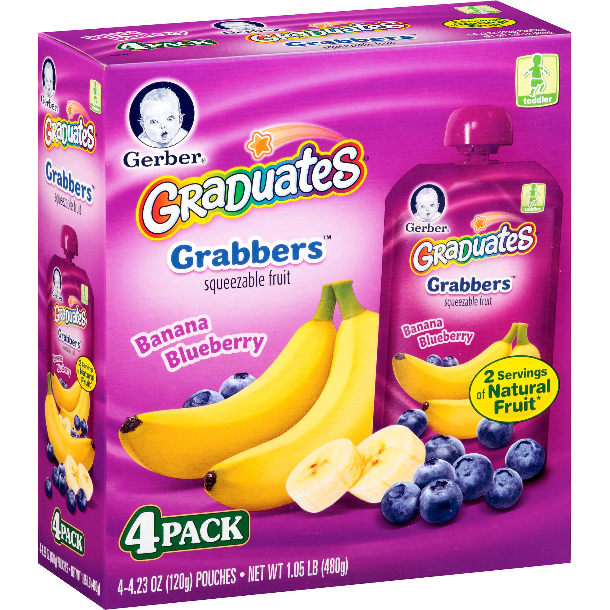 Gerber Graduates Grabbers Squeezable Fruit Banana Blueberry, 4.23 Ounce Pouch, 4 Count
