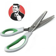 ZIG ZAG! Pinking Shears from CTE Craft (9 Inch Green Comfort Grip Professional Dressmaking / Sewing Scissors)