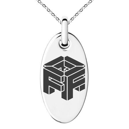 Stainless Steel Letter F Initial 3D Cube Box Monogram Engraved Small Oval Charm Pendant Necklace