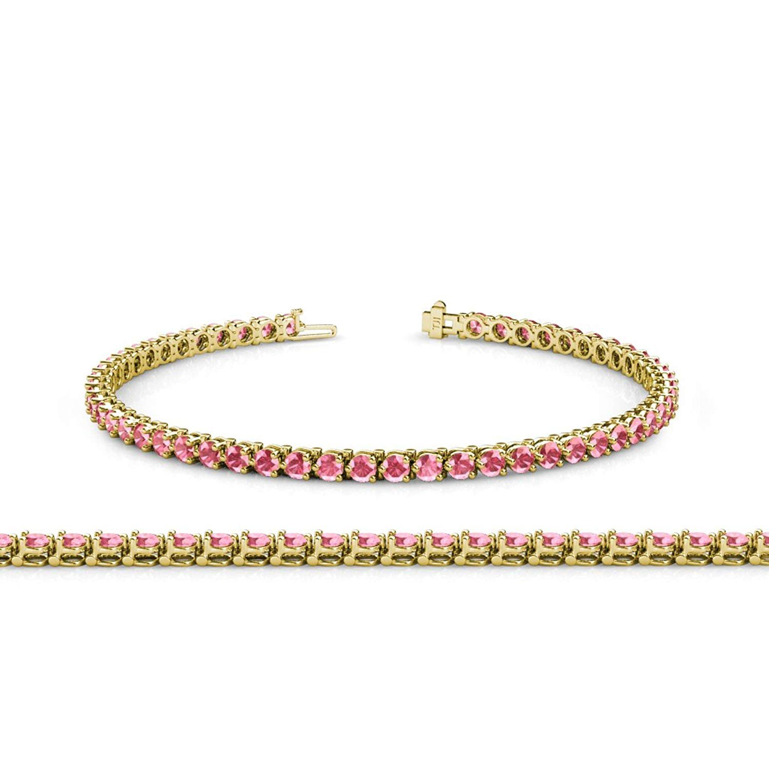 Pink Tourmaline 2.8mm 3-Prong Tennis Bracelet 3.93 ct tw in 14K Yellow Gold by TriJewels