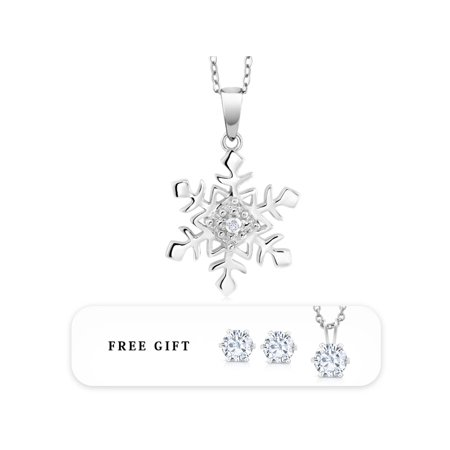 Diamond Accent Rhodium or 14K Rose Gold Plated Snowflake Pendant  on 18