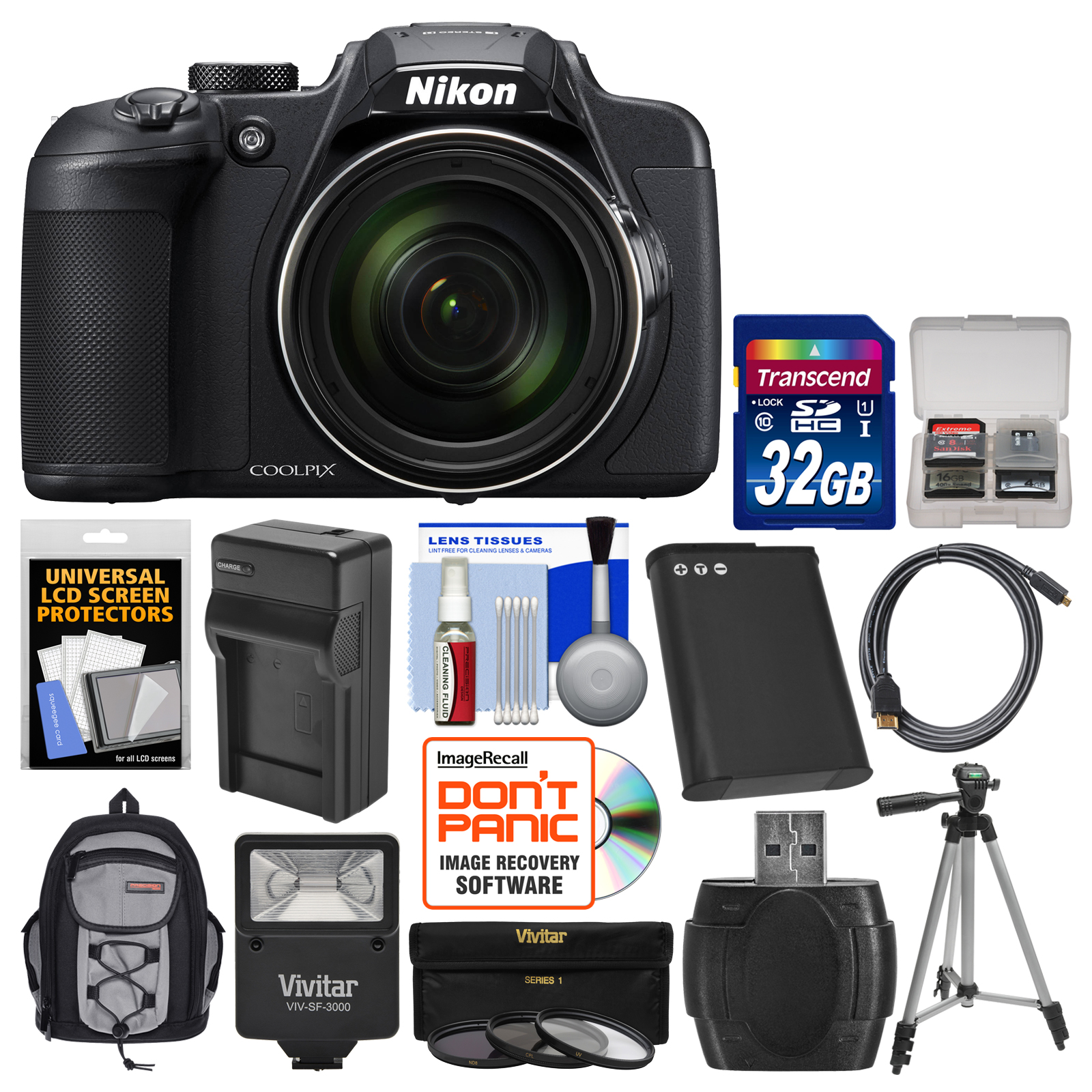 Nikon Coolpix B700 4K Wi-Fi Digital Camera - Refurbished with 32GB Card + Backpack + Flash + Battery & Charger + Tripod + 3 Filters Kit