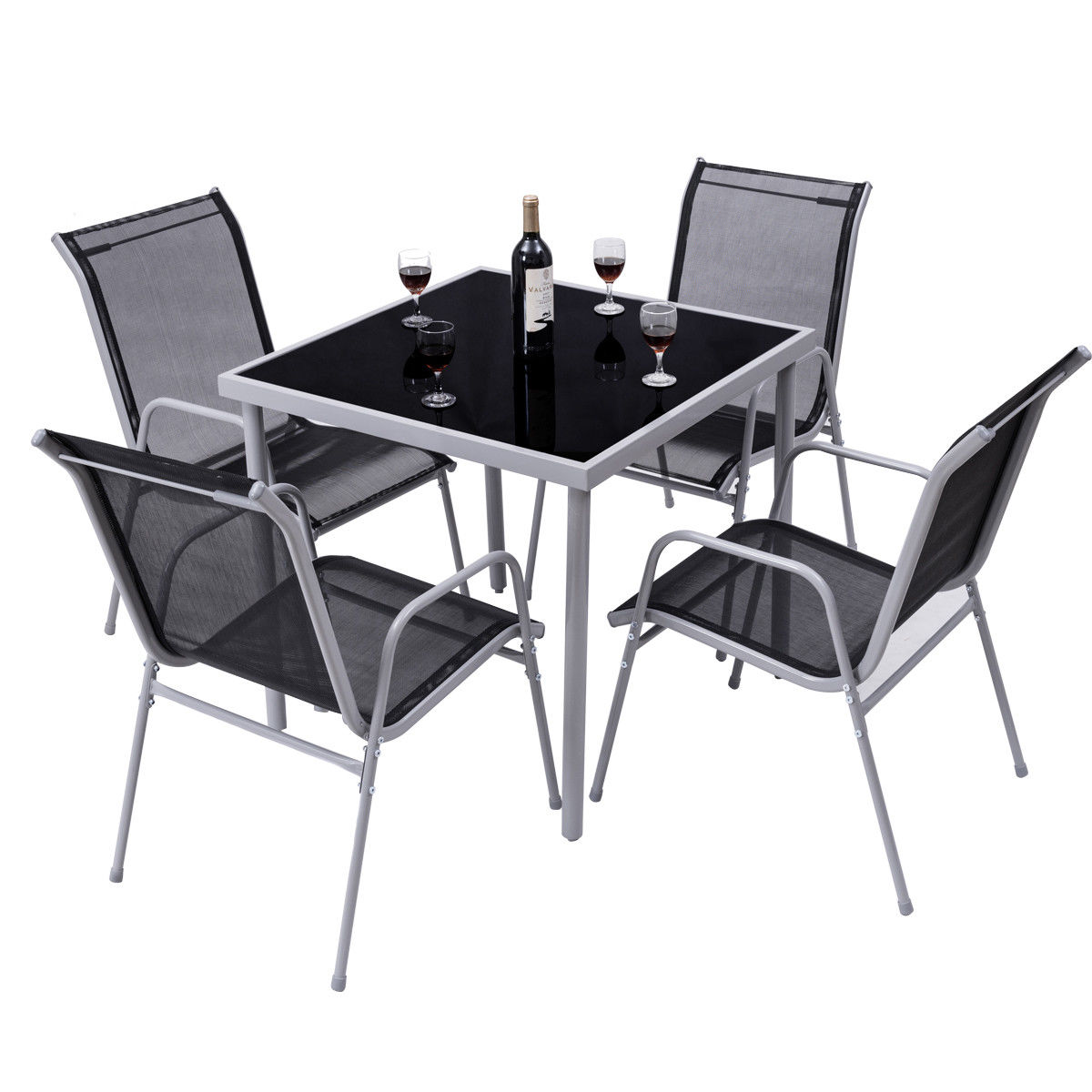 Costway 5 PCS Bistro Set Garden Set of Chairs and Table Outdoor Patio Furniture by Costway