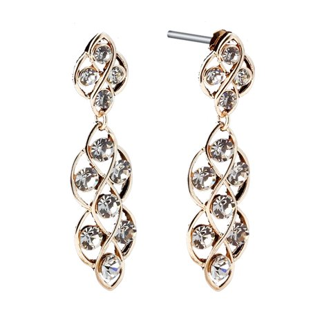 Gemini Women Jewerly Gold Filled Brilliant Diamonds Long Dangle Earrings Gm162 Valentine's Day Gifts , Color: Yellow (Best Gift For Gemini Woman)